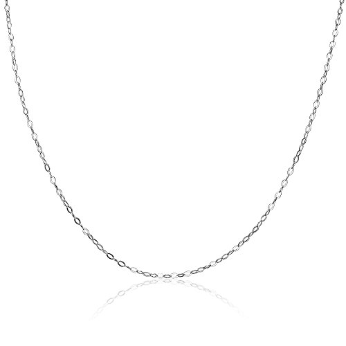 Hoops & Loops Sterling Silver 0.90mm Very Thin Delicate Cable Chain Necklace, 18 Inches