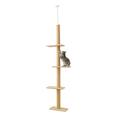 QNMM Cat Activity Tree, Kratzbaum Cat Climbing Tower mit Cat Tree Scratcher Activity Center,Beige