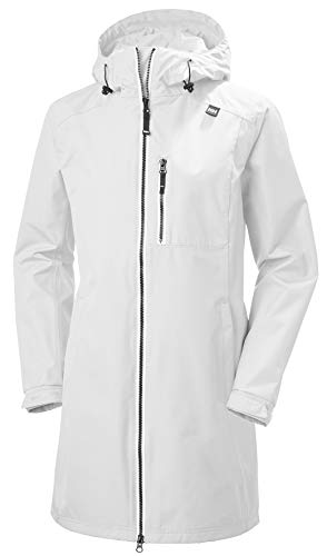 Helly Hansen Women's Long Belfast Waterproof Windproof Breathable Raincoat Jacket with Hood, 002 White, Small