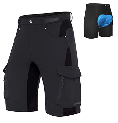 XKTTAC Pantalones Cortos de MTB para Hombre con Almohadilla de Asiento 3D de Secado Rápido para Bicicleta de Montaña Elasticidad Transpirable#Calzoncillos de Ciclismo#Negro+Calzoncillos,  XL#
