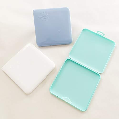 Cussi Mask Case-Packung mit 3 quadratischen Boxen für Masken (weiß, blau, türkis), bequem, kompakt, umweltfreundlich, unisex, hygienisch, wiederverwendbar