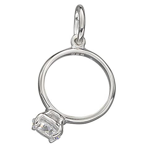Beginnings - Anillo de compromiso de plata de ley 925, ocasión especial, hito, circonita cúbica transparente con lazo cerrado