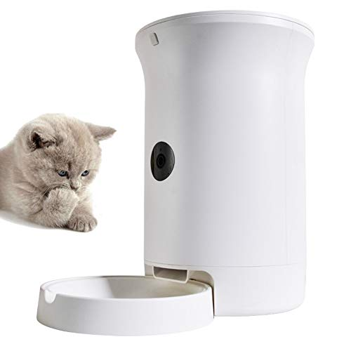 QIAO Automatic Cat Feeder, Dogs, Cats, Rabbit Medium Small Pet Puppy Kittens Food Dispenser, Digital Timer Programmable and LCD Screen, Plug-in Power 6.5L,White