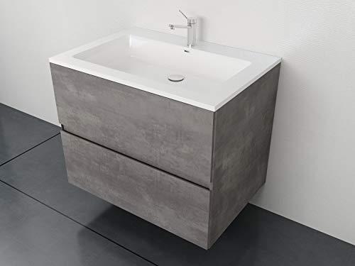 Tona Waschplatz Edda-600 mit Mineralmarmor Waschtisch und vormontiertem Unterschrank