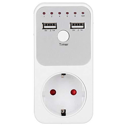 Nivvity Enchufe de Temporizador de Cuenta Regresiva USB, 180~260V 13A Enchufe de Temporizador de Cuenta Regresiva Digital Inteligente USB para Cargador de teléfono de computadora(EU Plug)
