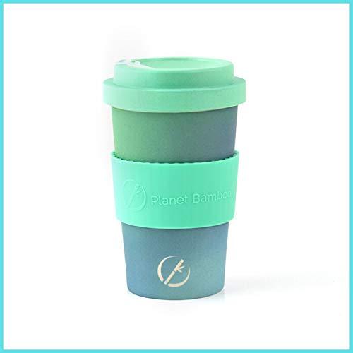 Planet Bamboo   nachhaltiger Kaffeebecher   Coffee-to-Go-Becher aus Bambus mit Bambusdeckel   lebensmittelecht   spülmaschinenfest   355 ml   inkl. kostenloser Filz Manschette (Space Cake)