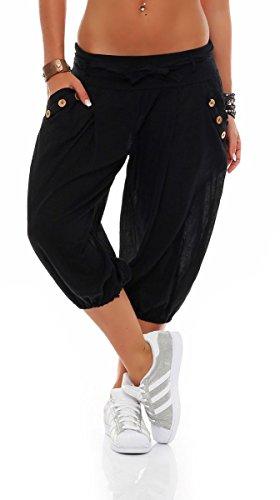 Malito Damen Pumphose in Unifarben | lässige Kurze Hose | Bermuda für den Strand | Haremshose - Pants 3416 (schwarz)