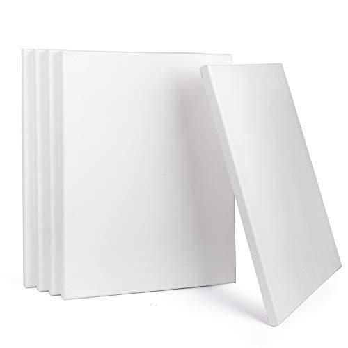ewtshop® Leinwände mit Keilrahmen, 100% Baumwolle, 5 Stück, 30x40 cm, Canvas, Kunstleinwand, Leinwand Tafel, weiß