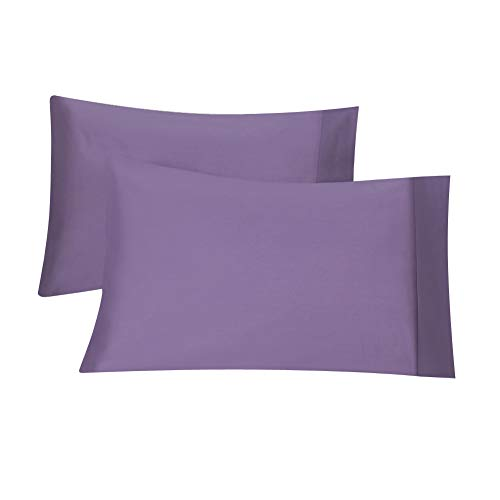 AVEYAL Long Staple Cotton Pillowcase, Pillow Case in Luxury Hotel Quality, Pillow Covers with Envelope Closure, Set of 2 pcs, Standard Size (20X26 inches), Lavender