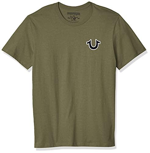True Religion Men's Buddha Logo Short Sleeve Tee, Militant Green, L