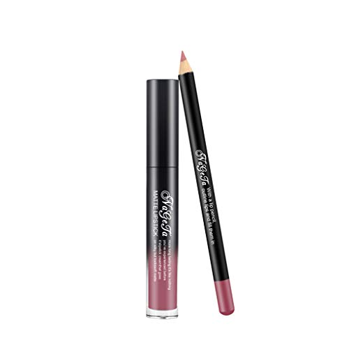 OVERMAL Rouge à lèvres Lipstick Foggy Face Velvet Liquid Matte Lip Gloss Lip Pencil Combination 2 Piece Set