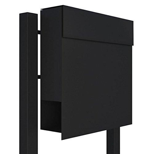 Standbriefkasten mit Zeitungsfach, Design Briefkasten Manhattan Stand Schwarz - Bravios
