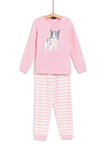 TEX - Pijama Largo de Algodón para Niña, 2 Piezas, Rosa Claro, 4 a 5 años
