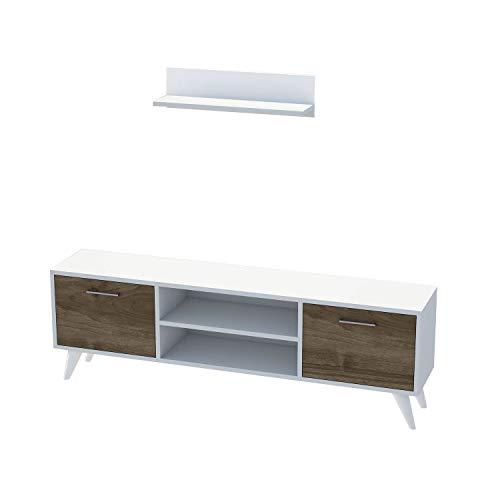Minar by Home Mania–Mueble TV con Estante Horus–120x 48cm–Color Blanco y Nuez