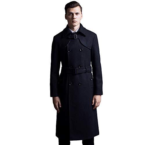 MERRYHE Herrenmode Zweireiher Mäntel Woolen Trenchcoat Slim Fit Militär Classic Trenchcoats Lange Jacke,Black-M(Bust/104cm)