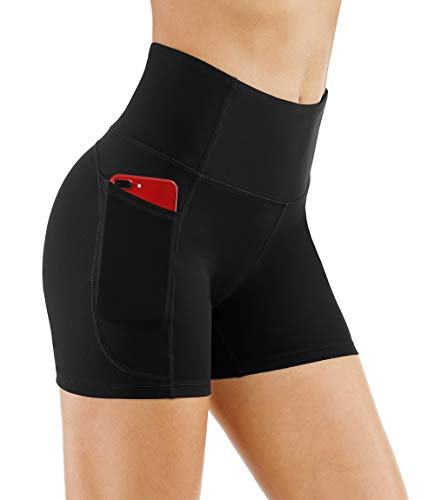 THE GYM PEOPLE High Waist Yoga Shorts for Women Tummy Control Fitness Athletic Workout Running Shorts with Deep Pockets (Medium, Black)