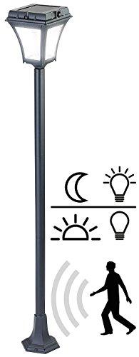 Lunartec Strassenlaterne Solar: Solar-LED-Wegeleuchte mit Bewegungssensor, Aluminum, 0,5-W-Solarpanel (Laterne mit Bewegungssensor)