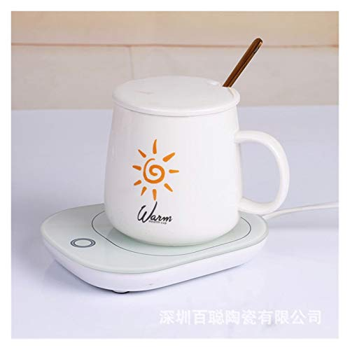 55 Degree Thermostat Cup Ceramic Spoon with Lid Mug Heating Pad Warm Cup Insulated Breakfast Coffee Cup (Color : Sun Cup, Size : 401 500ml)