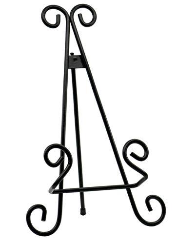 Red Co. Dekorativer gebogener Tellerständer und Kunsthalter, Staffelei in schwarzem Finish – 33 cm