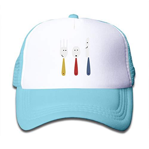 Casquettes en Maille pour Enfants Clip Art Fork Spoon Baseball Cap Summer Hat for Boys Girls Breathble Sports Sun Truck Hats 50-55cm