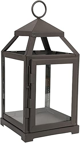 Hosley 12 Inch High Clear Glass and Iron Classic Style Lantern Ideal Gift for Festivities Parties Weddings Aromatherapy and Spa Settings O3