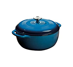 6-quart Dutch oven made of cast iron with chip-resistant porcelain-enamel finish Cast-iron loop side handles for a safe, secure grip when transporting Cover with handle traps in heat, moisture, and nutrients Hand wash; wood or silicone utensils recom...