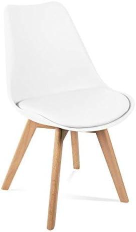 Mc Haus LENA - Pack 4 sillas Blancas Tulip Comedor oficina, Sillas Madera nórdicas con patas de madera y Asiento Acolchado suave, respaldo ergonómico, Blanco, 83x49x53,5cm