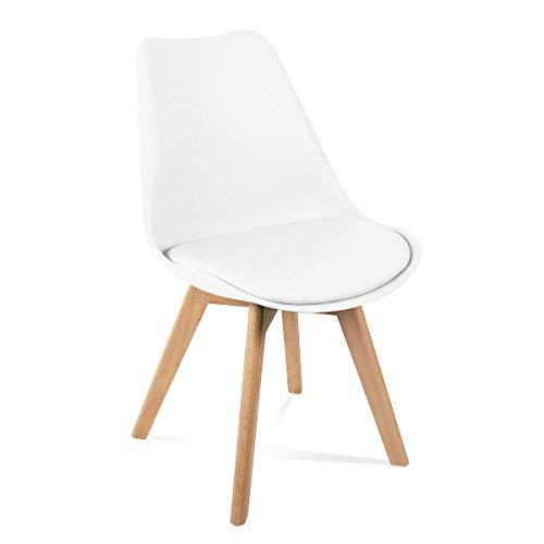 Mc Haus LENA - Pack 4 sillas Blancas Tulip Comedor...