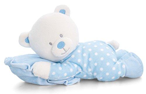 Lashuma Plüschtier Baby Bär Blau mit Kuschelkissen, Keel Kuschelbär, Bärchen Stofftier 25 cm