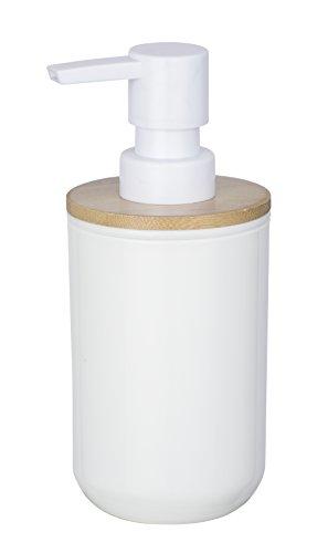 WENKO Seifenspender Posa, nachfüllbarer Pumpspender für Flüssigseife, Lotion oder Spülmittel, weißem Kunststoff mit nachhaltigen Bambus-Akzenten, (B x H x T): 7 x 16.5 x 8 cm, Füllmenge 330ml, Weiß