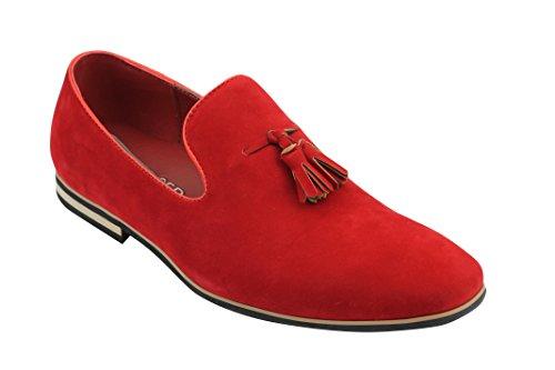 Mocasines de piel de ante sintética con borla para hombre, talla 40-47,5 UE, color Rojo, talla 40 EU