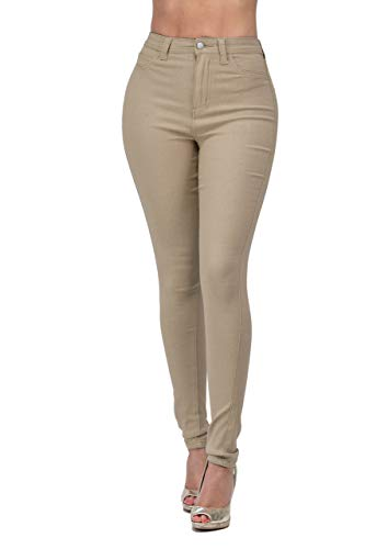 LOVER BRAND FASHION High Waisted-Rise Ladies Multi-Color Denim Stretch Skinny Colored Ripped Pants Jeans for Curvy Women (M, Khaki)