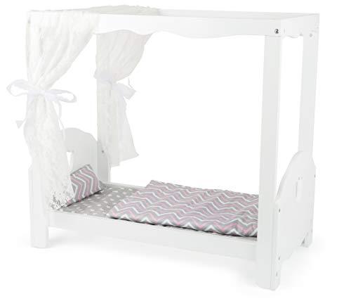 small foot 12023 Puppenhimmelbett aus Holz, mit Matratze und Bettwäsche, Puppenbett mit Sternen-Design, ab 3 Jahren Spielzeug, mehrfarbig