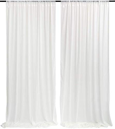 White Sheer Backdrop Curtain 9.8ft by 8ft Chiffon Backdrop Drapes Panels Perfect for Romantic Wedding Decorations
