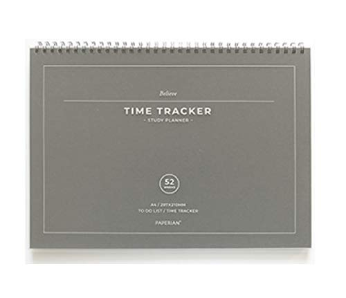 PAPERIAN Believe TIME Tracker - A4 Size Wirebound Undated Study Planner/to do List/Scheduler (Gray)