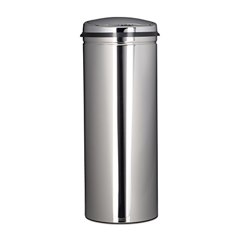 Relaxdays Mülleimer 50 L, mit Sensor, aus Edelstahl, 80 cm hoch, 30 cm Durchmesser, automatischer Deckel, rund, silber