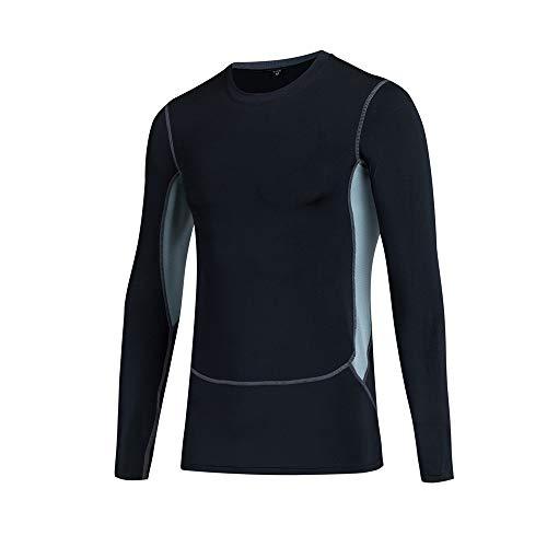HUIO Gym Shirt Splice Protection Solaire Hommes Skins Rash Guard Manches Longues en Cours Chemises athlétiques Convient pour Les Sports de Plein air (Color : Black, Size : XXXL)