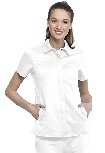 CHEROKEE Workwear WW Revolution Hidden Snap Front Collar Scrub Shirt, WW669, M, White
