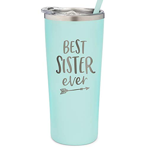 SassyCups Best Sister Ever Tumbler | 22 Ounce Engraved Mint Stainless...