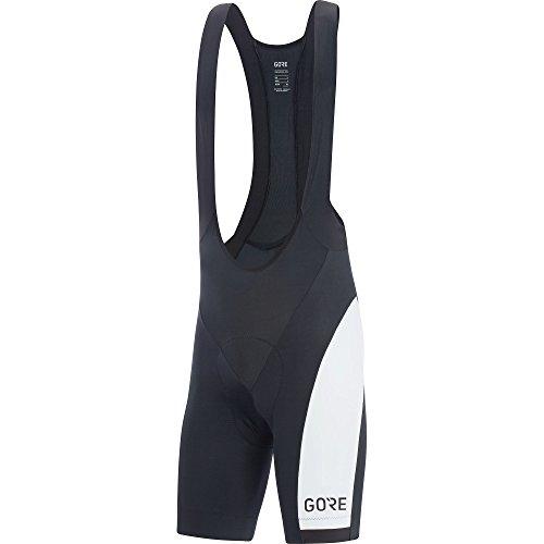 GORE Wear Atmungsaktive, kurze Herren Fahrrad-Trägerhose, Mit Sitzpolster, GORE C3 Optiline Bib Shorts+, Größe: M, Farbe: Schwarz/Weiß, 100178