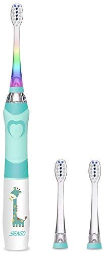 Seago - Spazzolino elettrico per bambini da 3 a 12 anni, con timer intelligente e luci a LED colorate e 2 testine soniche, per ragazzi e ragazze SGEK6, colore: verde