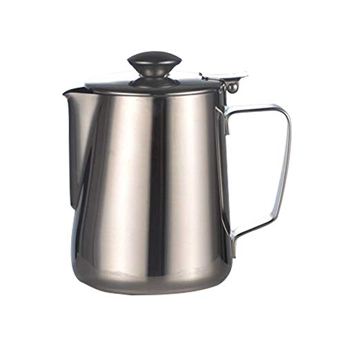 DIYARTS Latte Schiuma Brocca Pot di Grande capacità in Acciaio Inox caffè Latte Frullatore Pitcher Creamer Schiuma Tazza con Coperchio (600ML)