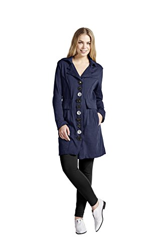 Neon Buddha Women's Lightweight Cotton Jacket Female Long Blazer with Contrasting Buttons and Pockets,Navy,Medium