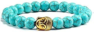 Firoza/Turquoise Stone Bracelet with Golden Buddha Head 8 mm Beads Reiki Healing Charm Bracelet for Men and Women