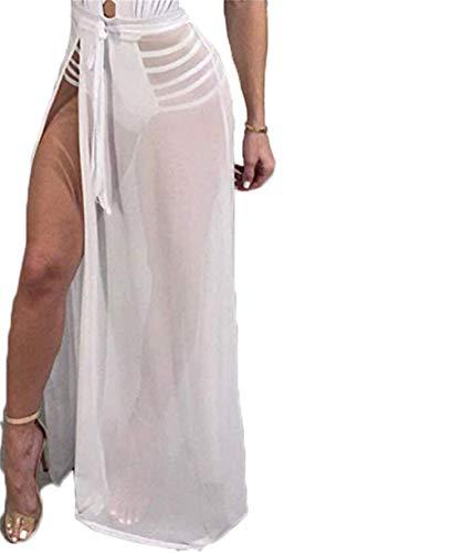 Frauen Sexy Durchsichtig Mesh Strandrock Schlitz Wickelrock Bikini Cover Up Clubwear Maxi Rock (Beige, Einheitsgröße)