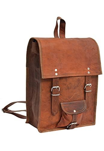 Gusti Tagesrucksack Leder - Joe Backpack Lederrucksack Rucksack Laptop Vinatge Retro Damen Herren Braun