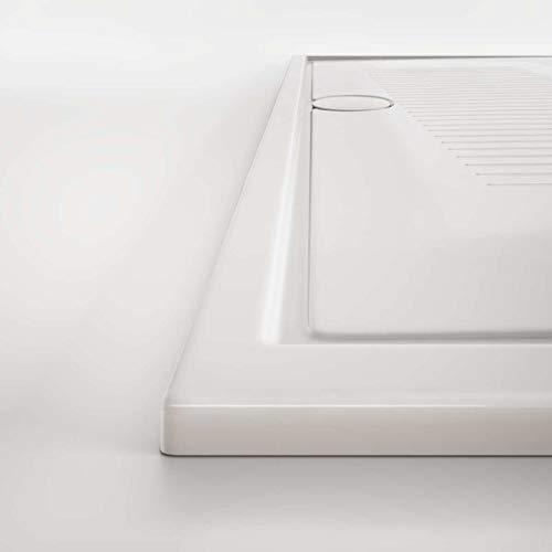 Piatto doccia in ceramica 90x70 slim H cm 3 bianco lucido senza sifone modello Lif di Hatria