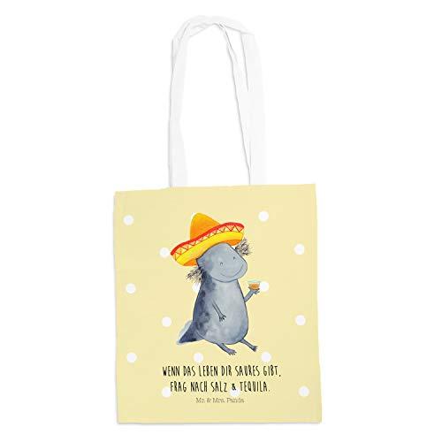Mr. & Mrs. Panda Tasche, Shopper, Tragetasche Axolotl Tequila mit Spruch - Farbe Gelb Pastell