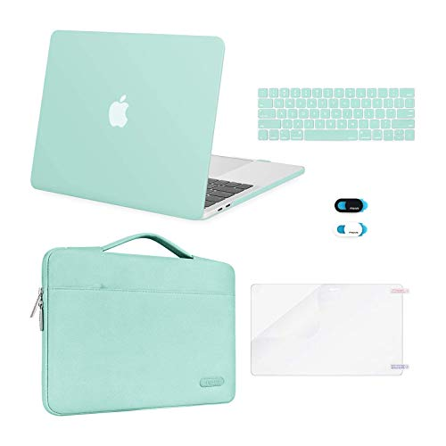 MOSISO Compatible with MacBook Pro 13 inch Case 2016-2020 Release A2338 M1 A2289 A2251 A2159 A1989 A1706 A1708, Plastic Hard Shell Case&Bag&Keyboard Skin&Webcam Cover&Screen Protector, Mint Green