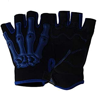 Personalized Skeleton Cross Country Gloves Summer Motorcycle Half Finger Knight Riding Gloves for Men and Women (Orange, White, Blue, Green)